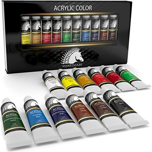 Acrylic Paint Set - Artist Quality Paints for Painting Canvas, Wood, Clay, Fabric, Nail Art, Ceramic & Crafts - 12 x 12ml Heavy Body Colors - Rich Pigments - Professional Supplies by MyArtscape