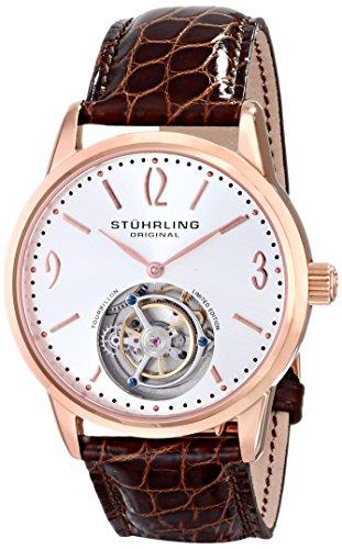STUHRLING CUVETTE TOURBILLON MEN'S 41MM BROWN LEATHER DATE WATCH 542.334XK2