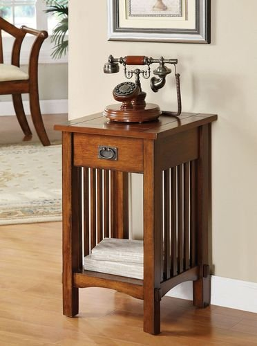 Mission Style Telephone Stand In Antique Oak Finish W/ Drawer front-869439
