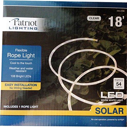 Solar Powered Led Flexible Rope Light 18' - 108 Bright White Leds