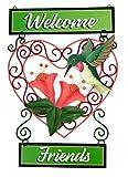 Hummingbird Welcome Friends Heart Decorative Metal Welcome Wall Plaque
