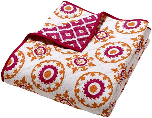 Masala Moksha Reversible Quilt - Ziz Medallion- Pink/Orange - 1