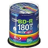 三菱化学メディア Verbatim BD-R(Video) 1回録画用 130分 1-6倍速 100枚スピンドルケース100P インクジェットプリンタ対応(ホワイト) ワイド印刷エリア対応 VBR130RP100SV4