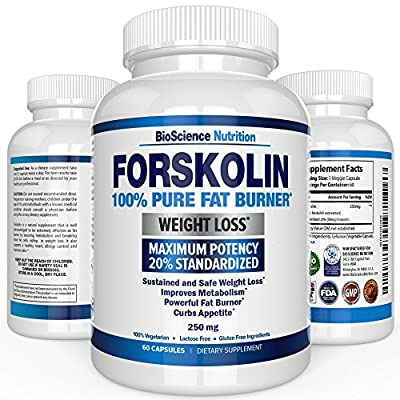 #1 Best Forskolin 100% Pure Extract 250mg Maximum Strength Fat Burner (60 Capsules) Verified Coleus Forskohlii Weight Loss Supplement