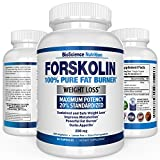 Forskolin Extract for Weight Loss 250MG - 100% Pure Maximum Strength Fat Burner (60 Capsules) Research Verified Coleus Forskohlii Supplement - Fully Standardized to 20% Superior Dose - Carb Blocker