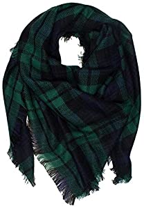 Soft Tartan Checked Plaid Scarf Shawl Cape (Size:55.1*55.1inch, N-Green) from asc