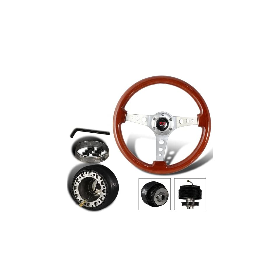 345mm 6 Hole Classic Wood Grain Style Deep Dish Steering Wheel + Honda/Acura Hub Adapter