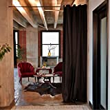 RoomDividersNow Muslin Tension Rod Room Divider Kit - Large A, 8ft Tall x 5ft 6in - 9ft 6in Wide (Black)