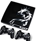Bundle Monster Vinyl Skin Sticker For PlayStation PS3 S SLIM Game Console - Cover Protector Art Decal - Blue Dragon