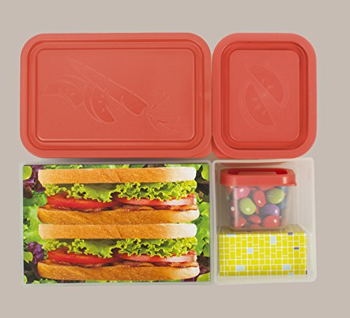 lunch box leakproof translucent melon bento box with 5 peach pink containers usa made food. Black Bedroom Furniture Sets. Home Design Ideas