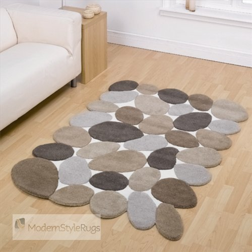 Pebble Brown Beige And Cream Large Modern Designer Floor Wool Rugs. 5 SIZES AVAILABLE
