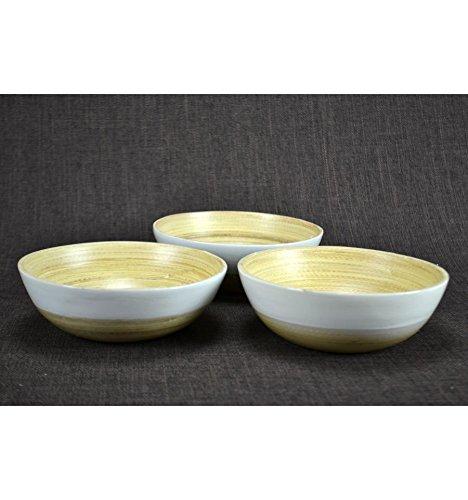 Lot de 3 bols ou plats apéritif en bambou laqué blanc