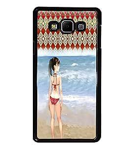 PrintDhaba Beach Girl D-2952 Back Case Cover for SAMSUNG GALAXY E7 (Multi-Coloured)