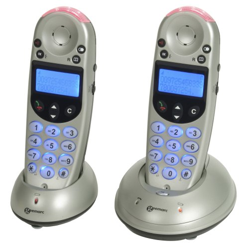 Geemarc AmpliDECT252 Twin Version Amplified Cordless Telephone Silver/Black