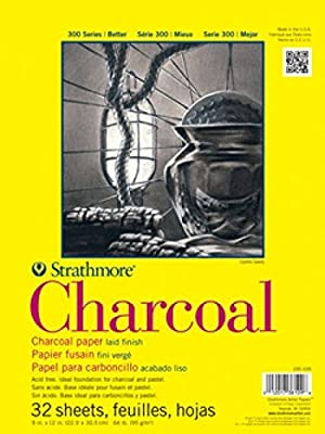 Strathmore 300 Series Charcoal Pad, White, 9x12 Wire Bound, 32 Sheets (3 Pack) (Tamaño: 9-x-12-Inch)