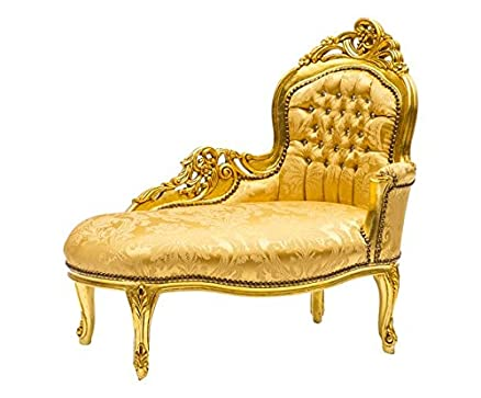 Panchetta chaise longue dormeuse oro tessuto damasco oro divanetto Barocco con strass