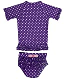 RuffleButts Grape Lunares con volantes Rash Guard Bikini - 5 Tamaño: 5 (Baby/Babe/Infant - Little Ones)