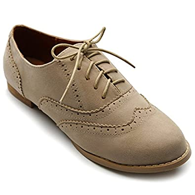Ollio Women's Shoe Ballet Flat Faux Suede Wingtip Lace Up Oxford(5.5 B(M) US, Beige)