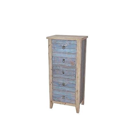 Schubladenkommode in Blau Holz Shabby Chic Pharao24