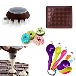 French Macaron Baking Set Silicon Decomax Pen with 4 Nozzles,with Baking Sheet and 5-Piece Measuring Spoon Set
