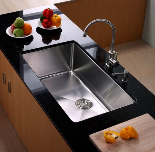 Kraus Stainless Steel Single Lever Handle Swivel Spout Kitchen Sink Faucet and Soap Dispenser