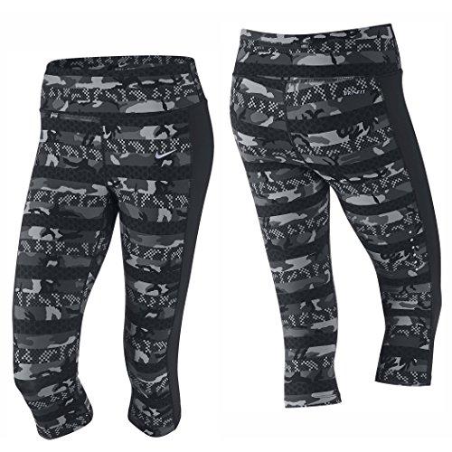 Nike Women's Dri-Fit Clash Epic Lux Running Capris-Gray/Black-Small
