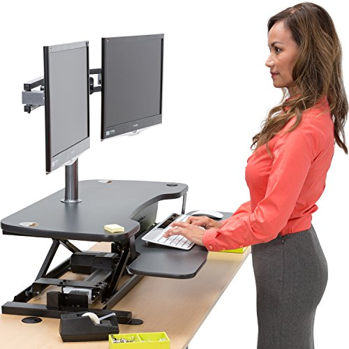 The Versa Power Computer Desktop - 36 x 24, Black - Electric Height Adjustable Sit to Stand Converting Desk Workstation (Commercial Adding Machine compare prices)