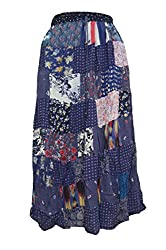 PMS Girls & Womans Cotton Skirt Handcrafted Beaded Painted Elastic Multi Color Skirt.