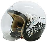 ダムトラックス(DAMMTRAX) バイクヘルメット ジェット CARINA P.WHITE-CAT レディースフリー(57~58cm)