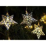 Solalux Set of 12 Moroccan Solar String Lanterns Garden LED Lights Stars - Rust Resistant - 2nd Gen