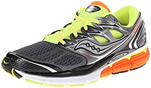 Saucony Men's Hurricane ISO Running Shoe, Grey/Citron/Orange,11 M US