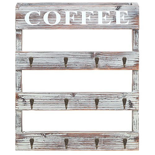 Country Rustic Style Brown Wood 12 Hook Wall Mounted ...