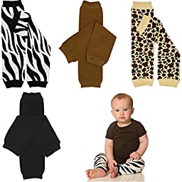 juDanzy zoo leg warmers in leopard, zebra, black & brown for baby, toddler & child