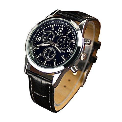 Chianrliu Orologio con cinturino in ecopelle, blue Ray, con vetro, al quarzo analogico da uomo orologi Nero