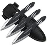 BladesUSA RC-595-3, Throwing Knife Set with Three Knives, Black Blades, Steel Handle, 5-1/2-Inch Overall