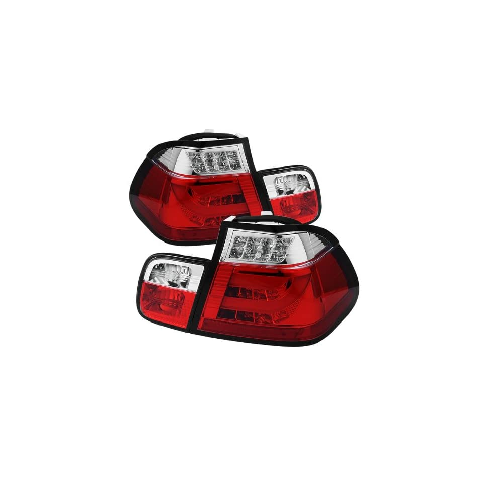 2002 2003 2004 2005 BMW E46 3 Series 4Dr Light Bar Style LED Tail Lights   Red Clear