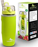 Infuser Water Bottle with No-Sweat Insulating Sleeve - Best Fruit Infusion Sport Bottle - Large 900ml - Leak-proof - BPA-free - Ideal for Your Detox
