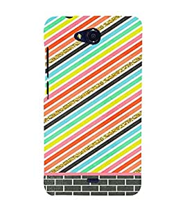 PrintVisa Colorful Stripes Pattern 3D Hard Polycarbonate Designer Back Case Cover for Micromax Canvas Play Q355