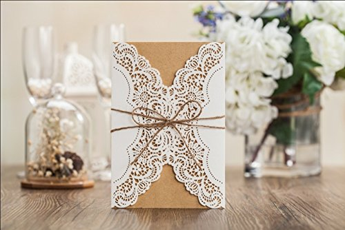 Wishmade 50x Rustic Laser Cut Lace Sleeve Wedding Invitations Cards Kits for Engagement Bridal Shower Baby Shower Birthday Graduation Cardstock with Hollow Favors Rustic Envelope(Set of 50pcs) 4