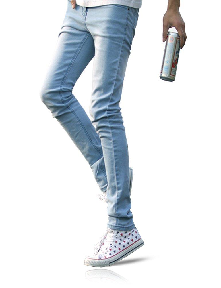 悪魔&ハンター  メンズジーンズ ストレート ストレッチ スキニー 夏 薄手 涼感 パンツ ジーパン ロングパンツ HY08