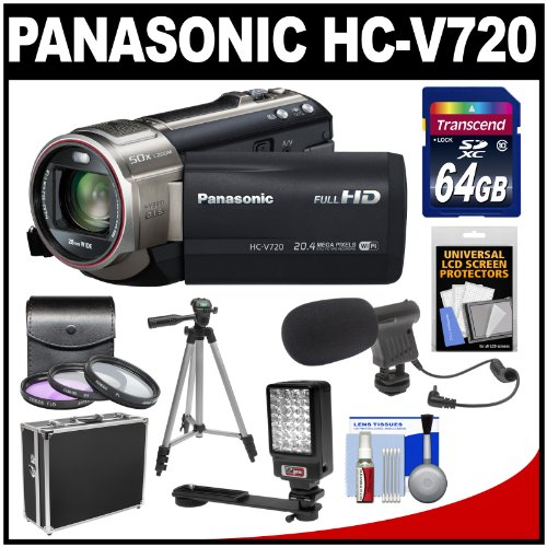 Panasonic HC-V720 Live Streaming Full HD Wi-Fi Digital Video Camera Camcorder (Black) with 64GB Card + Case + 3 Filters + Tripod + LED Video Light + Microphone + Accessory Kit