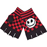 The Nightmare Before Christmas Gloves Fingerless Mitts Jack Skellington Black Red Cheque One Size