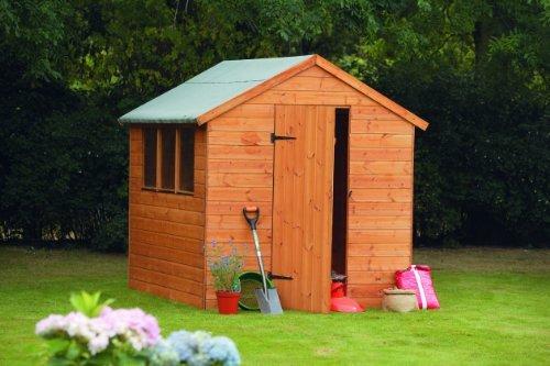 8' x 6' Wooden Garden Shed Single Door Apex Roof Shiplap Wood 10 Year Anti Rot Guarantee
