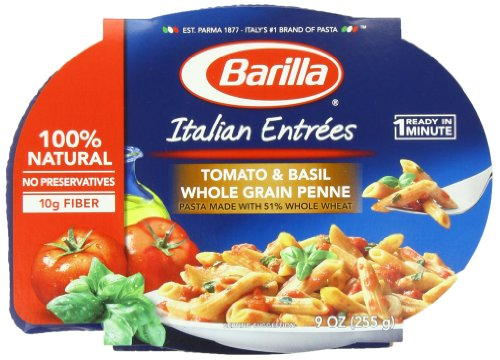 Barilla Tomato & Basil Whole Grain Penne Italian Entree, 9 Ounce Microwavable Bowls (Pack Of 6)