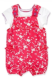 2 Piece Pure Cotton T-Shirt & Butterfly Print Bibshort Dungaree Outfit
