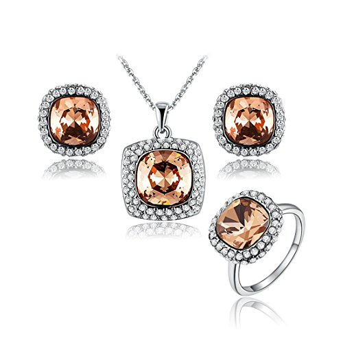 AROUND 101 Black Friday Swarovski Elements AAA Grade CZ Necklace Earring Ring Set