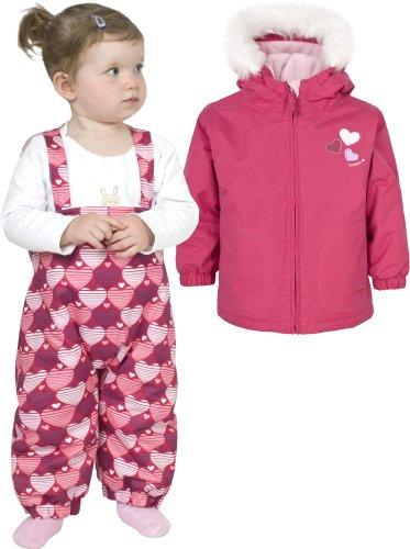 Girls TRESPASS BABU Pink Ski Jacket & Salopettes Pants Snow Suit Set Ages 6-12 Months