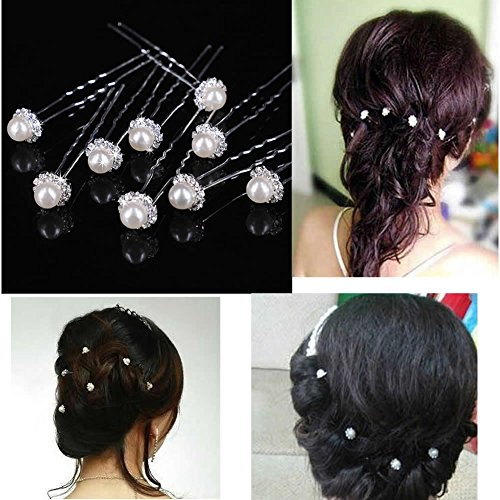 Estone 50Pcs Wedding Bridal Artificial Pearl Flower Crystal Hair Pins Clips Bridesmaid