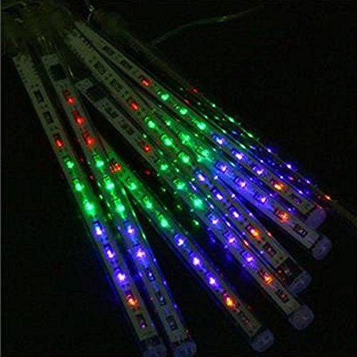 Perfect Holiday, 50Cm 8 Tube 240 Leds Snowfall Meteor Rain Light Tube For Holiday Party Christmas Xmas Decoration With Us Plug Colorful