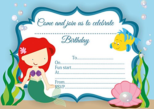 10-x-ariel-the-little-mermaid-children-birthday-party-invitations